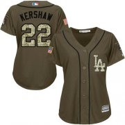 Wholesale Dodgers #22 Clayton Kershaw Green Salute to Service Women's Stitched Baseball Jersey