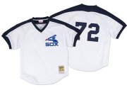 Wholesale Cheap Mitchell And Ness 1981 White Sox #72 Carlton Fisk White Throwback Stitched MLB Jersey
