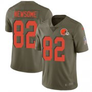 Wholesale Cheap Nike Browns #82 Ozzie Newsome Olive Men's Stitched NFL Limited 2017 Salute To Service Jersey