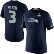 Wholesale Nike Seattle Seahawks #3 Russell Wilson Name & Number 2015 Super Bowl XLIX NFL T-Shirt Navy Blue