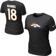 Wholesale Cheap Women's Nike Denver Broncos #18 Peyton Manning Name & Number T-Shirt Black