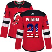 Wholesale Cheap Adidas Devils #21 Kyle Palmieri Red Home Authentic USA Flag Women's Stitched NHL Jersey