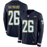 Wholesale Cheap Nike Chargers #26 Casey Hayward Navy Blue Team Color Men's Stitched NFL Limited Therma Long Sleeve Jersey