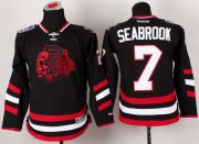 Wholesale Cheap Blackhawks #7 Brent Seabrook Black(Red Skull) 2014 Stadium Series Stitched Youth NHL Jersey