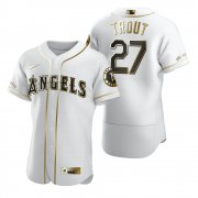 Wholesale Cheap Los Angeles Angels #27 Mike Trout White Nike Men's Authentic Golden Edition MLB Jersey
