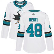 Wholesale Cheap Adidas Sharks #48 Tomas Hertl White Road Authentic Women's Stitched NHL Jersey