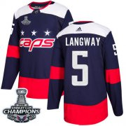 Wholesale Cheap Adidas Capitals #5 Rod Langway Navy Authentic 2018 Stadium Series Stanley Cup Final Champions Stitched NHL Jersey