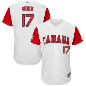 Wholesale Cheap Team Canada #17 Eric Wood White 2017 World MLB Classic Authentic Stitched MLB Jersey