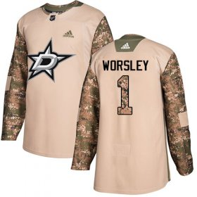 Wholesale Cheap Adidas Stars #1 Gump Worsley Camo Authentic 2017 Veterans Day Stitched NHL Jersey