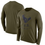 Wholesale Cheap Men's Houston Texans Nike Olive Salute to Service Sideline Legend Performance Long Sleeve T-Shirt