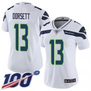 Wholesale Cheap Nike Seahawks #13 Phillip Dorsett White Women's Stitched NFL 100th Season Vapor Untouchable Limited Jersey