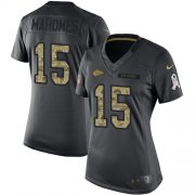 Wholesale Cheap Nike Chiefs #15 Patrick Mahomes Black Women's Stitched NFL Limited 2016 Salute to Service Jersey