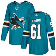 Wholesale Cheap Adidas Sharks #61 Justin Braun Teal Home Authentic Stitched NHL Jersey
