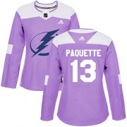 Cheap Adidas Lightning #13 Cedric Paquette Purple Authentic Fights Cancer Women's Stitched NHL Jersey