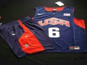 Wholesale Cheap 2012 Olympics Team USA 6 LeBron James Blue Basketball Suit