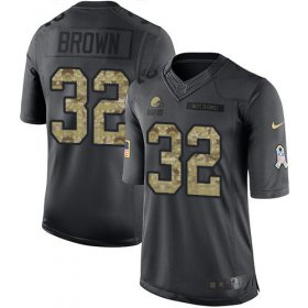 Wholesale Cheap Nike Browns #32 Jim Brown Black Youth Stitched NFL Limited 2016 Salute to Service Jersey