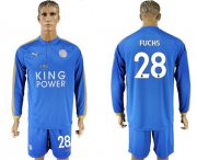 Wholesale Cheap Leicester City #28 Fuchs Home Long Sleeves Soccer Club Jersey