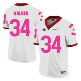 Wholesale Cheap Georgia Bulldogs 34 Herschel Walker White Breast Cancer Awareness College Football Jersey