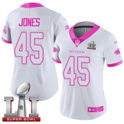 Wholesale Cheap Nike Falcons #45 Deion Jones White/Pink Super Bowl LI 51 Women's Stitched NFL Limited Rush Fashion Jersey