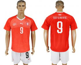 Wholesale Cheap Switzerland #9 Seferovic Red Home Soccer Country Jersey