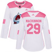 Wholesale Cheap Adidas Avalanche #29 Nathan MacKinnon White/Pink Authentic Fashion Women's Stitched NHL Jersey