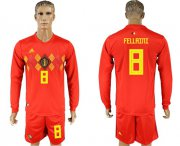 Wholesale Cheap Belgium #8 Fellaini Red Home Long Sleeves Soccer Country Jersey