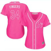Wholesale Cheap Athletics #34 Rollie Fingers Pink Fashion Women's Stitched MLB Jersey