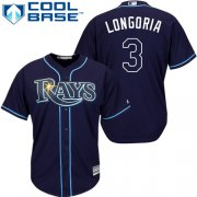 Wholesale Cheap Rays #3 Evan Longoria Dark Blue Stitched Youth MLB Jersey
