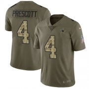 Wholesale Cheap Nike Cowboys #4 Dak Prescott Olive/Camo Youth Stitched NFL Limited 2017 Salute to Service Jersey