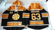 Wholesale Cheap Bruins #63 Brad Marchand Black Sawyer Hooded Sweatshirt Stitched NHL Jersey