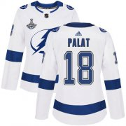Cheap Adidas Lightning #18 Ondrej Palat White Road Authentic Women's 2020 Stanley Cup Champions Stitched NHL Jersey