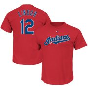 Wholesale Cheap Cleveland Indians #12 Francisco Lindor Majestic Official Name and Number T-Shirt Scarlet