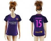 Wholesale Cheap Women's Barcelona #15 Champions Away Soccer Club Jersey