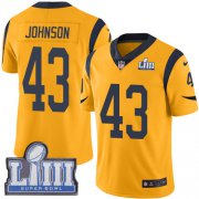 Wholesale Cheap Nike Rams #43 John Johnson Gold Super Bowl LIII Bound Men's Stitched NFL Limited Rush Jersey
