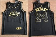 Wholesale Cheap Lakers 24 Kobe Bryant Black Gold Nike Swingman Jersey