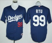 Wholesale Cheap Dodgers #99 Hyun-Jin Ryu Navy Blue Cooperstown Stitched MLB Jersey
