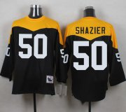 Wholesale Cheap Mitchell And Ness 1967 Steelers #50 Ryan Shazier Black/Yelllow Throwback Men's Stitched NFL Jersey