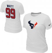 Wholesale Cheap Women's Nike Houston Texans #99 J.J. Watt Name & Number T-Shirt White