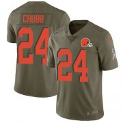Wholesale Cheap Nike Browns #24 Nick Chubb Olive Youth Stitched NFL Limited 2017 Salute to Service Jersey