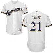 Wholesale Cheap Brewers #21 Travis Shaw White Flexbase Authentic Collection Stitched MLB Jersey