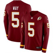 Wholesale Cheap Nike Redskins #5 Tress Way Burgundy Team Color Men's Stitched NFL Limited Therma Long Sleeve Jersey