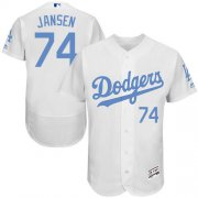 Wholesale Cheap Dodgers #74 Kenley Jansen White Flexbase Authentic Collection Father's Day Stitched MLB Jersey