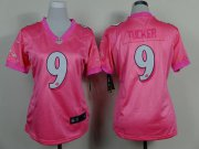 Wholesale Cheap Nike Ravens #9 Justin Tucker Pink Women's Be Luv'd Stitched NFL New Elite Jersey