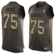 Wholesale Cheap Nike Ravens #75 Jonathan Ogden Green Men's Stitched NFL Limited Salute To Service Tank Top Jersey