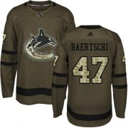 Wholesale Cheap Adidas Canucks #47 Sven Baertschi Green Salute to Service Youth Stitched NHL Jersey