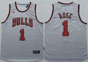 Wholesale Cheap Men's Chicago Bulls #1 Derrick Rose Revolution 30 Swingman 2014 New Gray Jersey