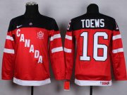 Wholesale Cheap Team Canada #16 Jonathan Toews Red 100th Anniversary Stitched Youth NHL Jersey