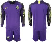 Wholesale Cheap Brazil Blank Purple Goalkeeper Long Sleeves Soccer Country Jersey