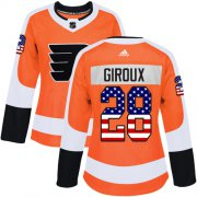 Wholesale Cheap Adidas Flyers #28 Claude Giroux Orange Home Authentic USA Flag Women's Stitched NHL Jersey