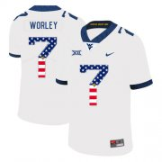 Wholesale Cheap West Virginia Mountaineers 7 Daryl Worley White USA Flag College Football Jersey
